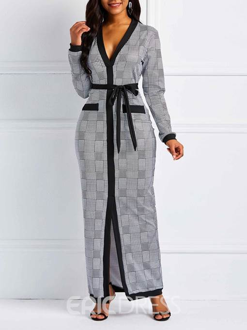 Ericdress Floor-Length Long Sleeve Lace-Up Plaid Dress
