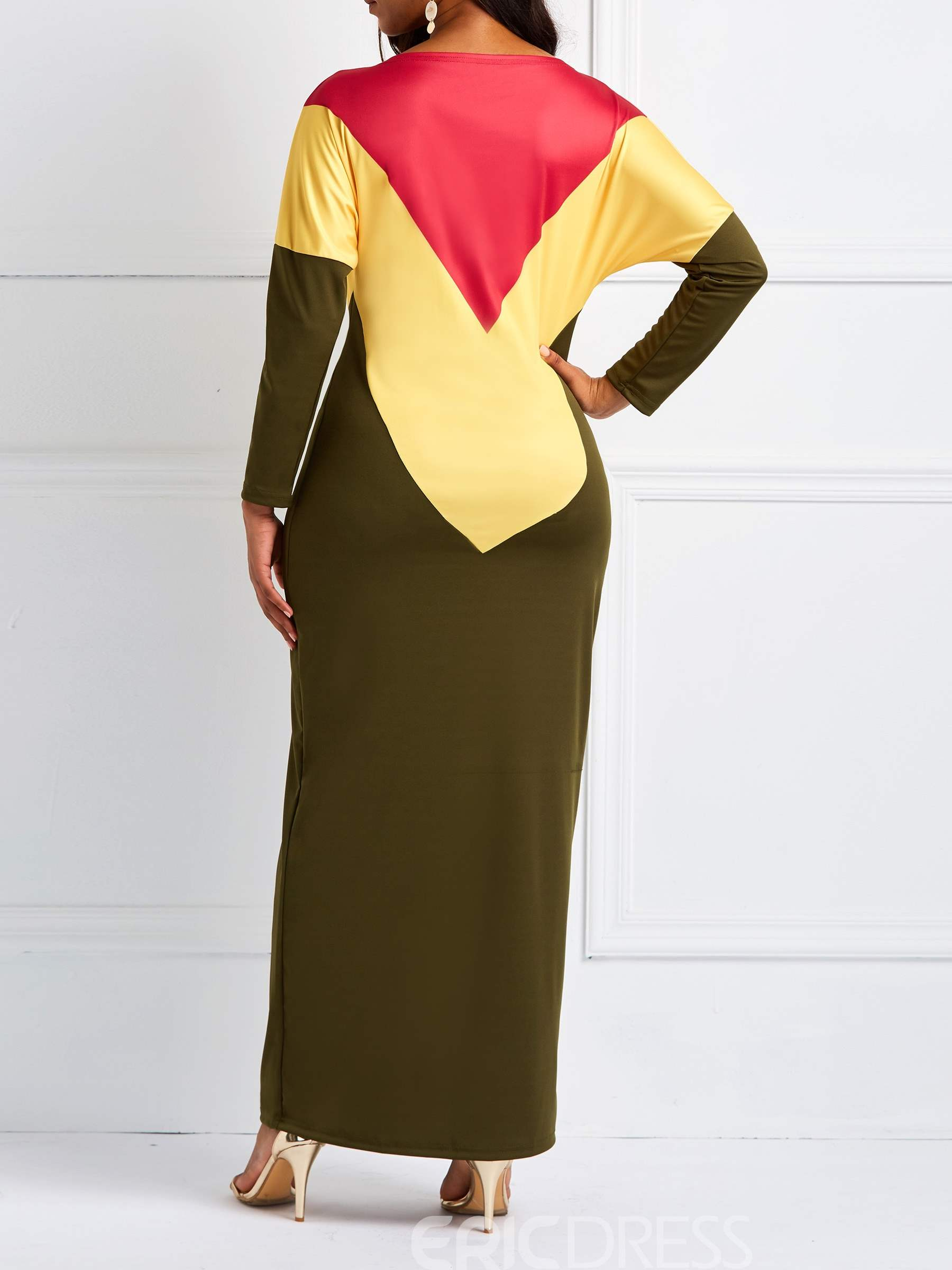 Ericdress Long Sleeves Pullover Round Neck Color Block Casual Dress
