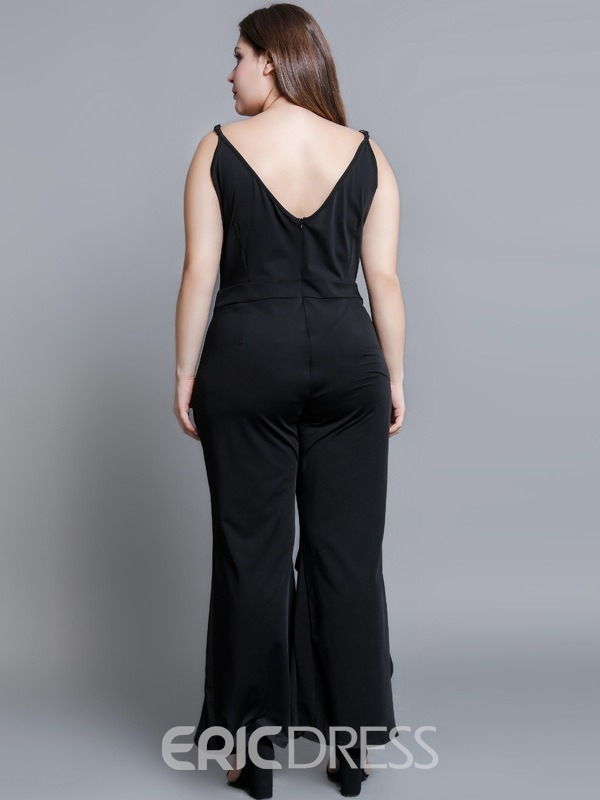 Ericdress Plus Size Asymmetric Plain Casual Slim Wide Legs Jumpsuit