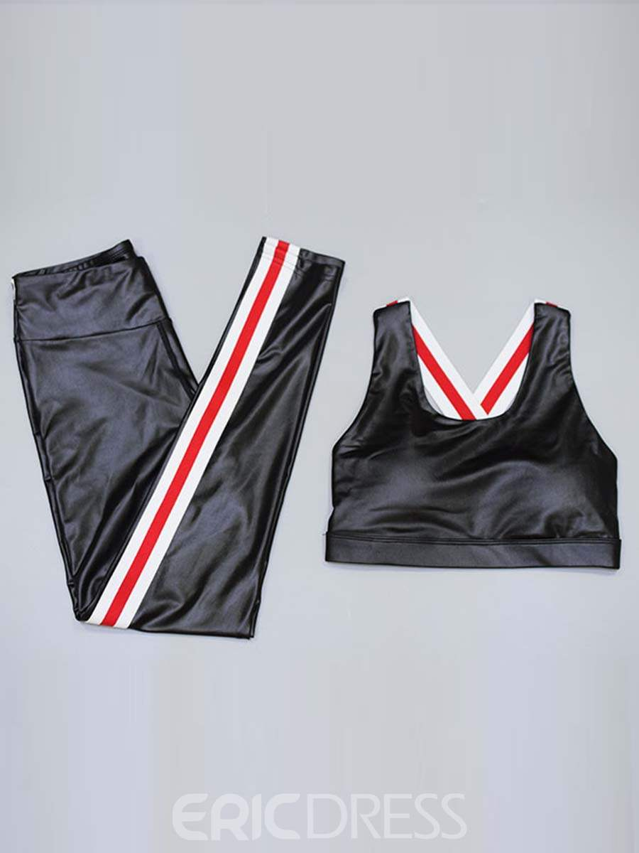 Ericdress Patchwork Quick Dry Stripe Sleeveless Sports Sets
