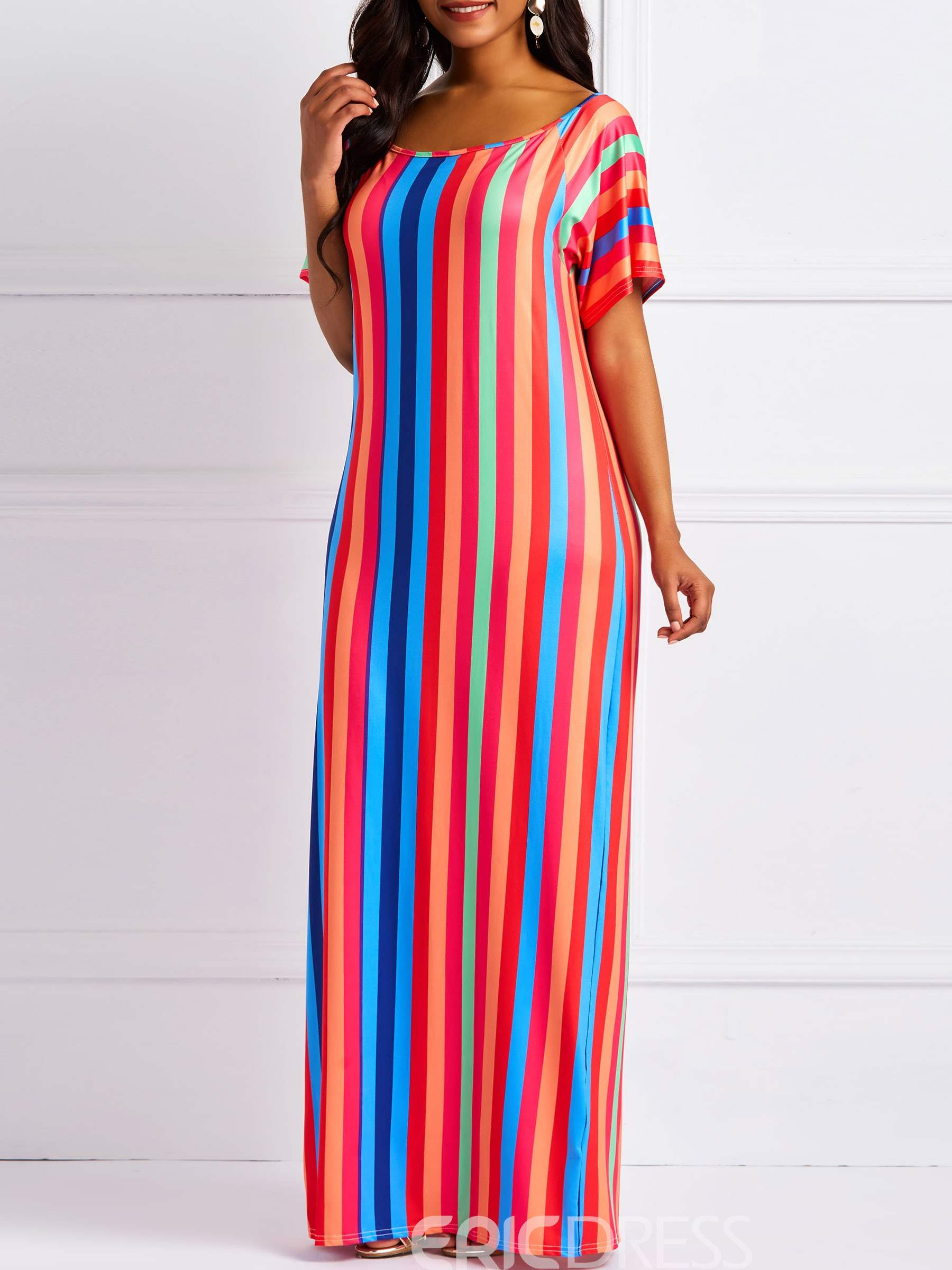 Ericdress Stripe Short Sleeve Round Neck Pullover Casual Dress