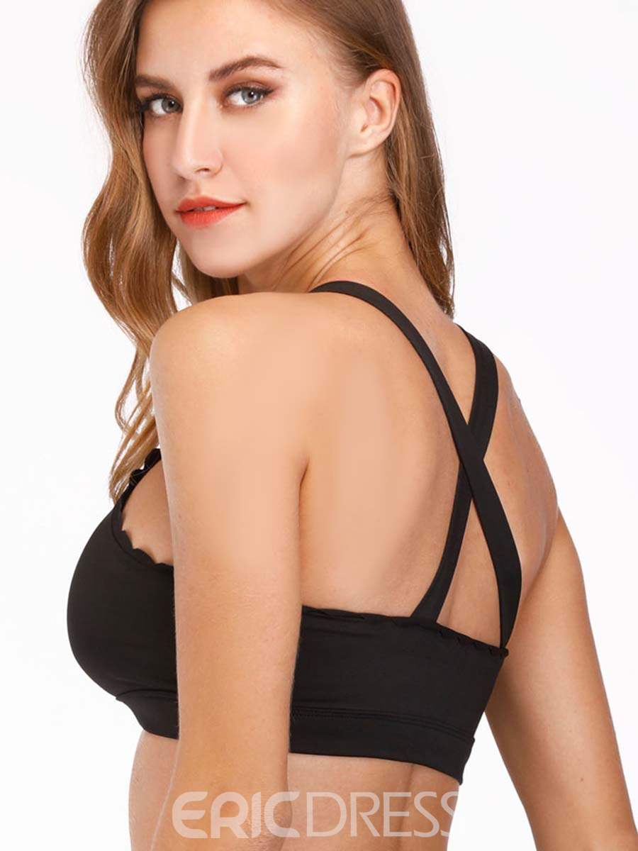 Ericdress Ruffle Non-Adjusted Straps Plain Breathable Sports Bras