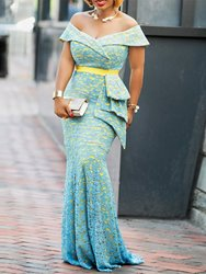 Ericdress Off Shoulder Floor-Length Lace Mermaid Dress фото