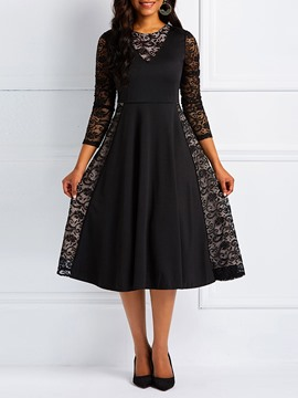 Ericdress Long Sleeves Lace Patchwork A-Line Black Dresses