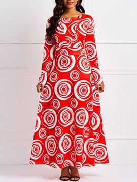 Ericdress Long Sleeves Ankle-Length Geometric Print Dress