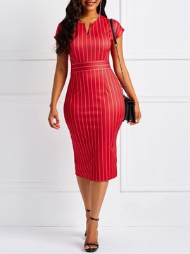 Ericdress Bodycon Stripe Cap Sleeve Dresses