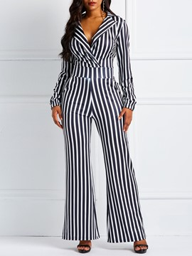 Ericdress Striped Pockets Notched Lapel Women's Jumpsuits