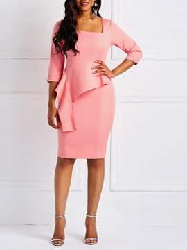 Ericdress Asymmetric Ladylike Bodycon Formal Dress