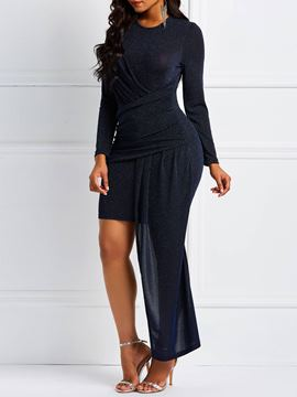 Ericdress Long Sleeves Round Neck Asymmetric Hem Bodycon Dress