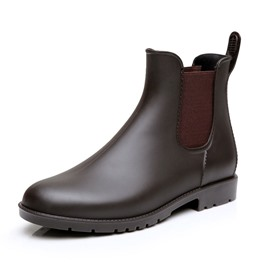 Ericdress Plain Round Toe Elastic Men's Rainboots