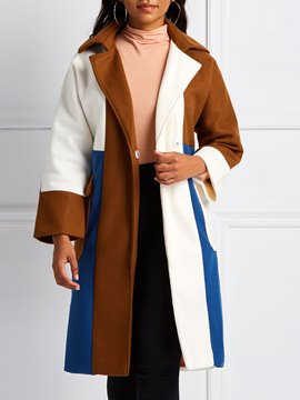 Ericdress Patchwork Straight Mid-Length Overcoat
