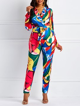 Ericdress Print Color Block Lace-Up Slim Notched Lapel Women's Jumpsuits