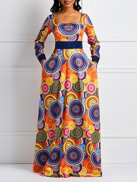 Ericdress Square Neck Print Long Sleeve Geometric Maxi Dress