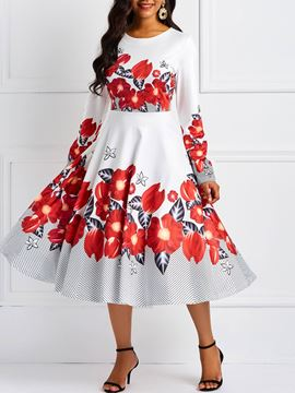 Ericdress Long Sleeves A-Line Floral Print Dress