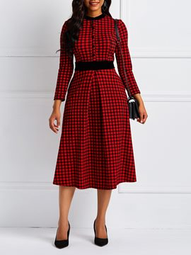 Ericdress Christmas Ankle-Length Long Sleeve Print Plaid Pocket Dress