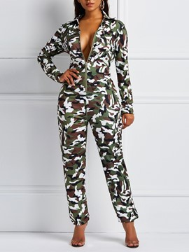 Ericdress Zipper Camouflage Full Length Slim Jumpsuits