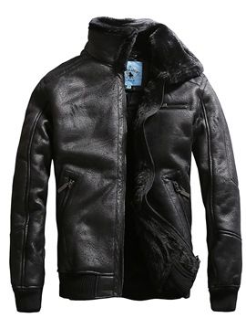 Ericdress Slim Zipper Winter Mens PU Leather Jacket