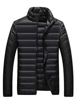 Ericdress Stand Collar Slim Plain Zipper Lightweight Mens Down Jacket
