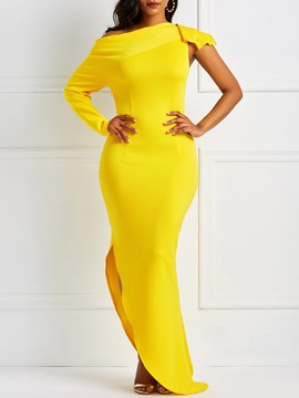 Ericdress Long Sleeve Split Pullover Bodycon Yellow Dresses
