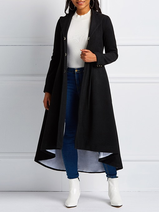 Ericdress Slim Hidden Button Patchwork Long Overcoat