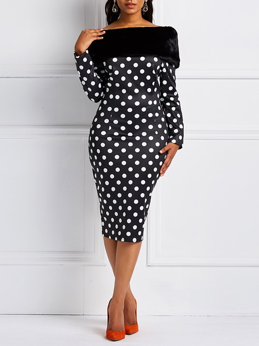 Ericdress Long Sleeves Polka Dots Detachable Collar Patchwork Bodycon Dresses