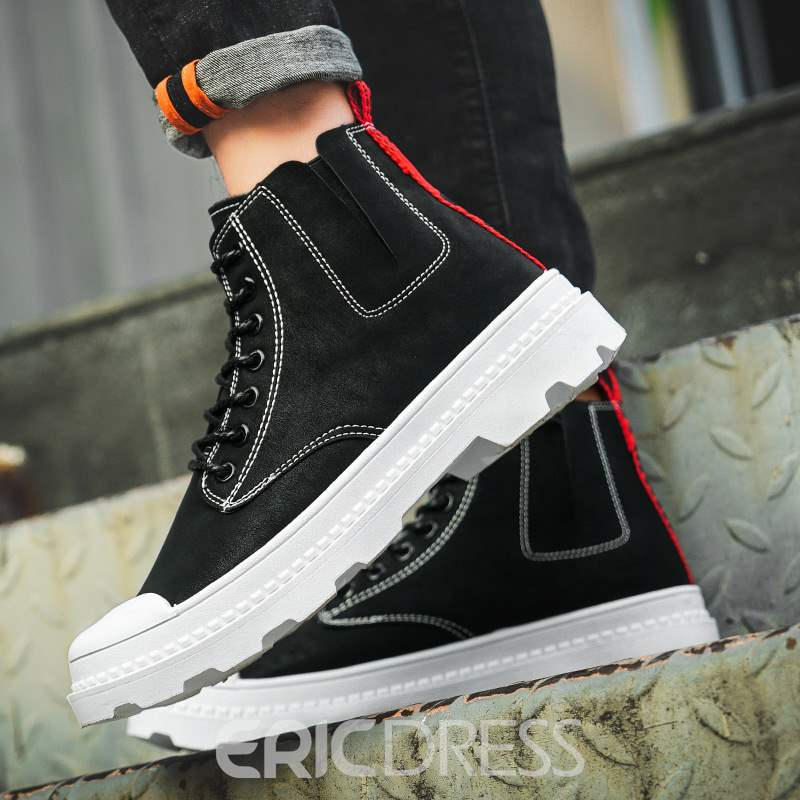 Ericdress Plain Round Toe Lace-Up Men's Casual Boots