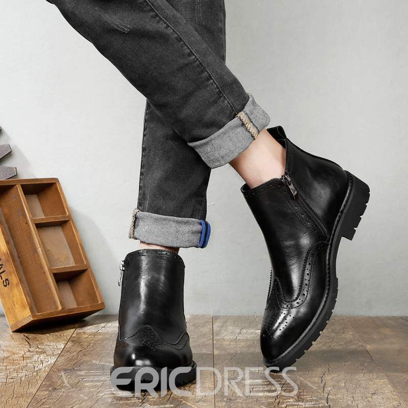 Ericdress PU Round Toe Side Zipper Men's Boots