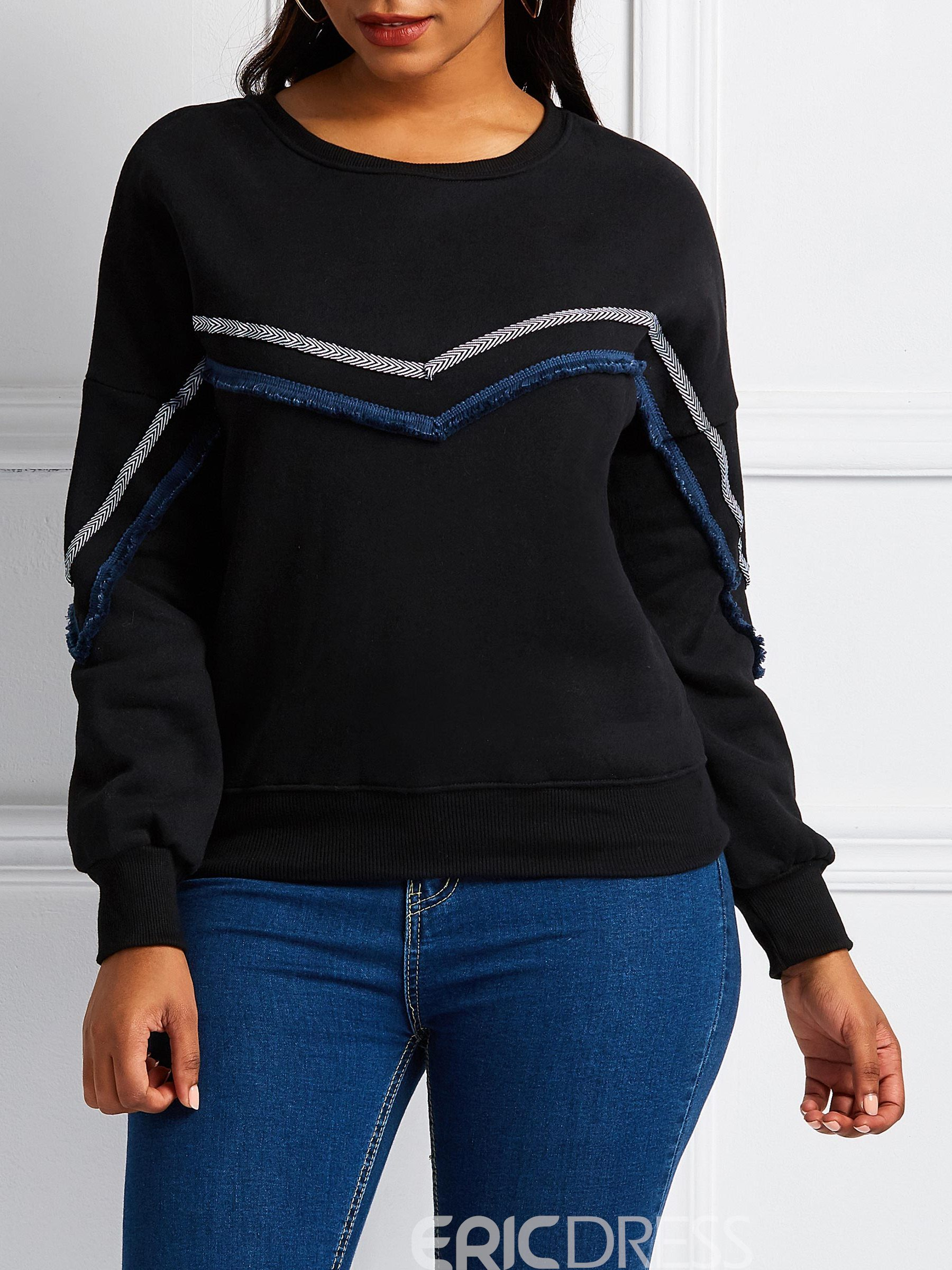 Ericdress Embroidery Regular Stripe Round Neck Long Sleeve Hoodie