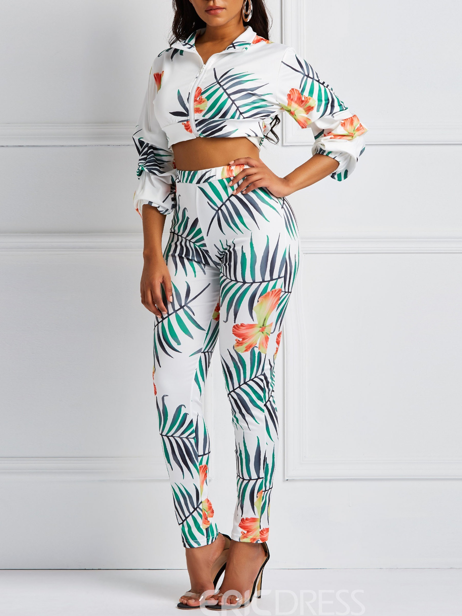 Ericdress Floral Print Skinny Jacket and Pencil Pants Women's Two Piece Sets