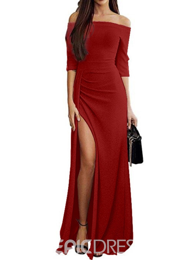 Ericdress Half Sleeve Split Floor-Length Standard-Waist Plain Dress