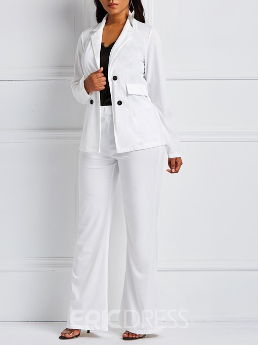 Ericdress Button Pants Casual Full Length Long Sleeve Formal Suit