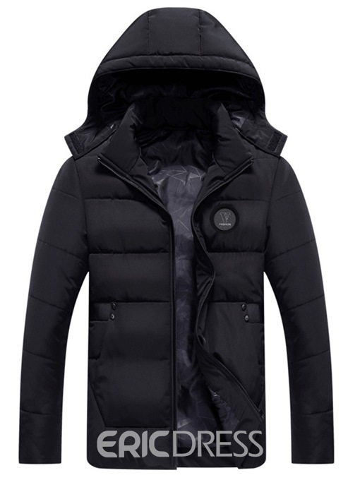 Ericdress Thick Plain Mid-Length Hooded Mens Casual Down Jacket