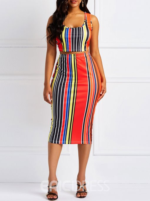 Ericdress Print Striped Sexy Scoop Bodycon Women's Two Piece Sets
