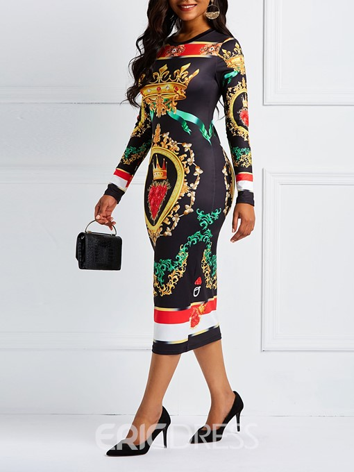 Ericdress Print Bodycon Color Block Floral Sexy Dress