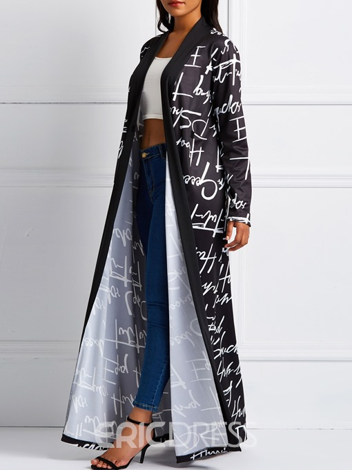 Ericdress Long V-Neck Print Long Sleeve Regular Trench Coat
