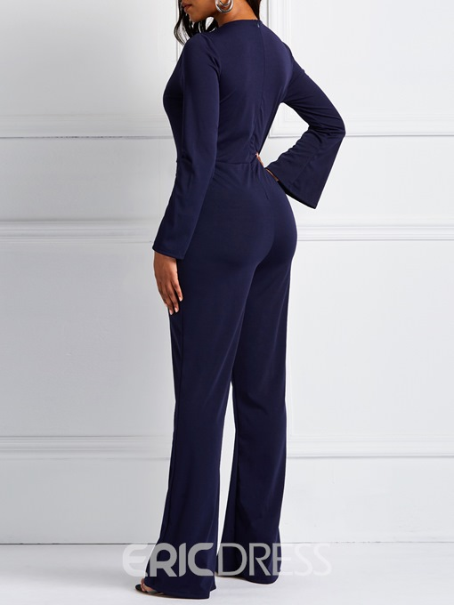 Ericdress Full Length Striped Casual Bellbottoms Slim Jumpsuit