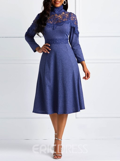 Ericdress Mid-Calf Long Sleeve Lace Patchwork Dress