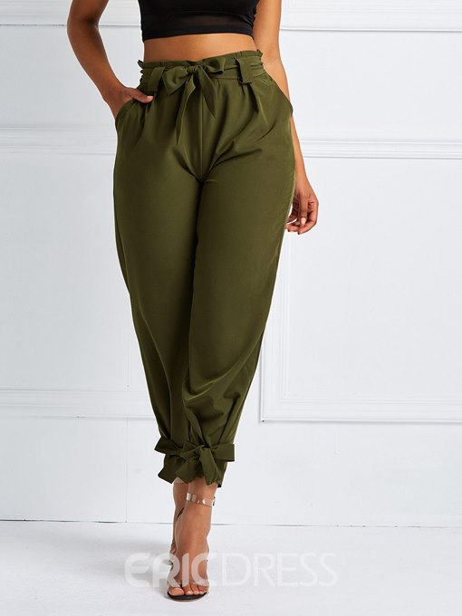 Ericdress Bowknot Loose Mid-Waist Pockets Harem Pants