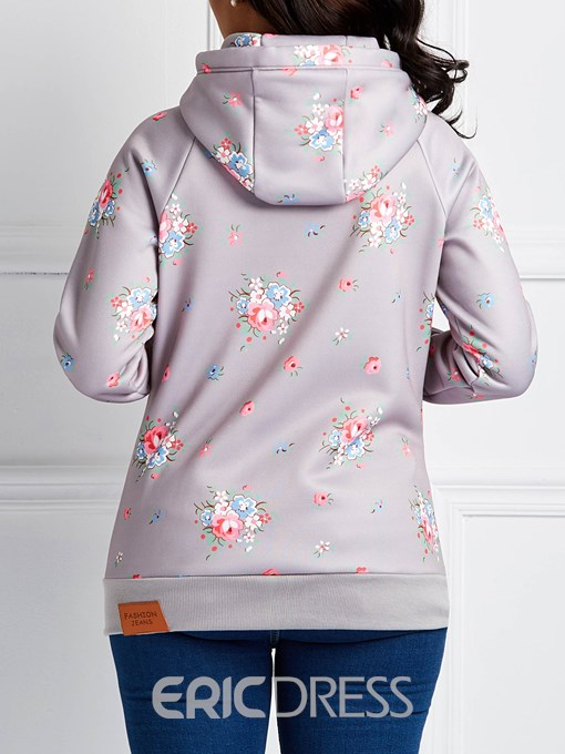 Ericdress Zipper Print Floral Long Sleeves Cool Hoodie