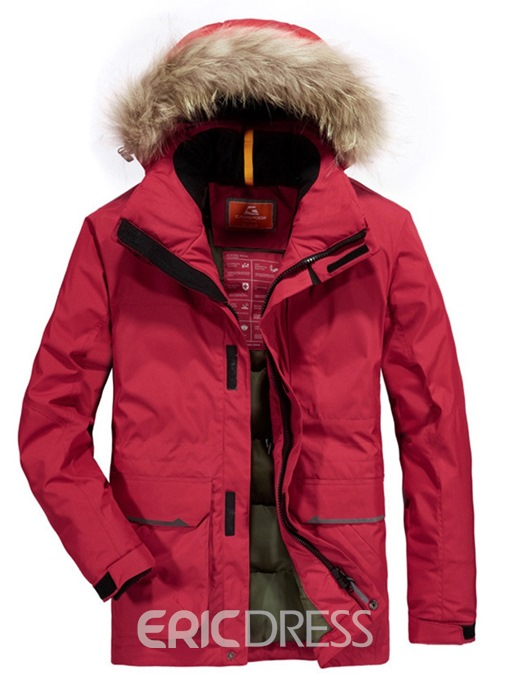 Ericdress Plain Thick Fur Hooded Zipper Mens Casual Down Jacket