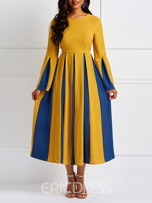 Ericdress Patchwork Color Block Flare Sleeve Pleated Elegant Dress