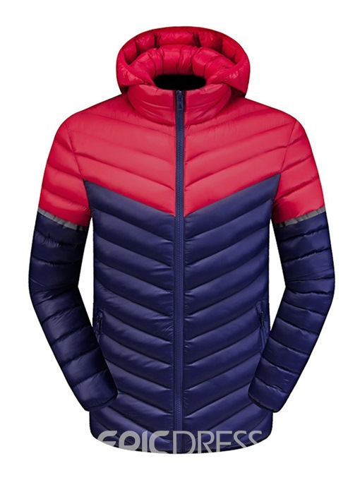 Ericdress Color Block Slim Stand Collar Sports Zipper Mens Down Jacket