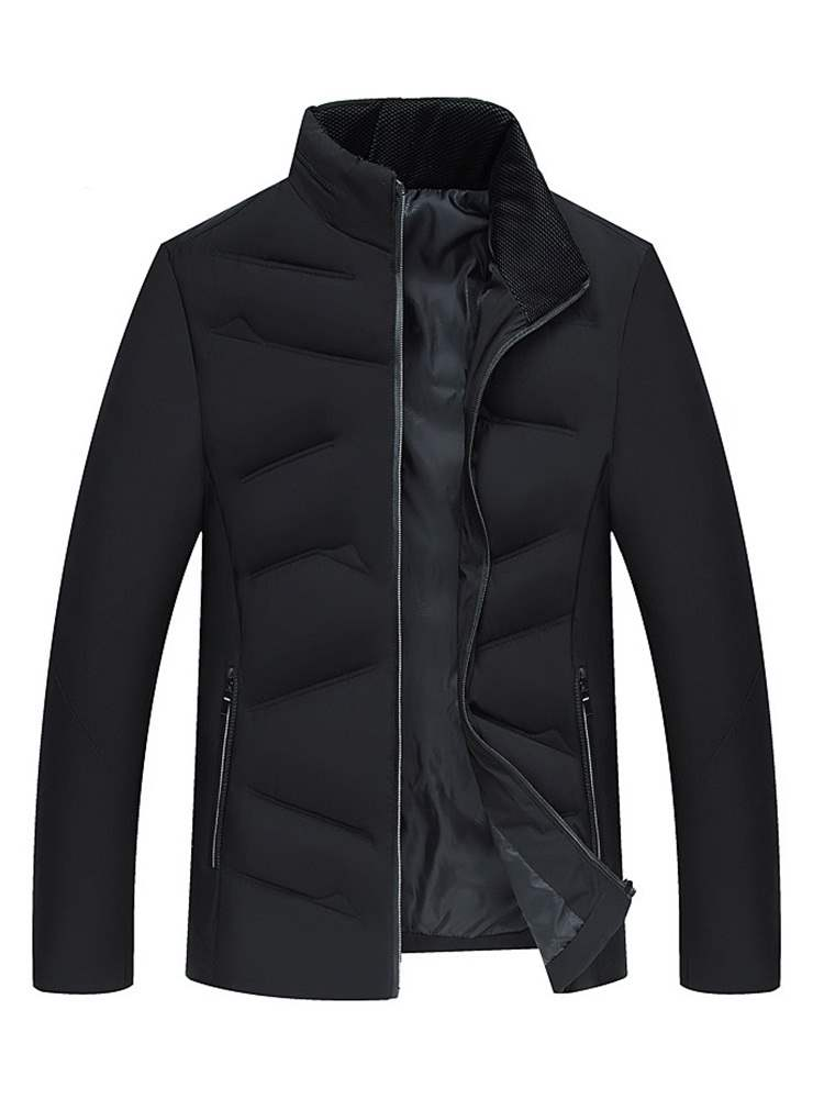 Ericdress Stand Collar Plain Zipper Mens Casual Down Jacket