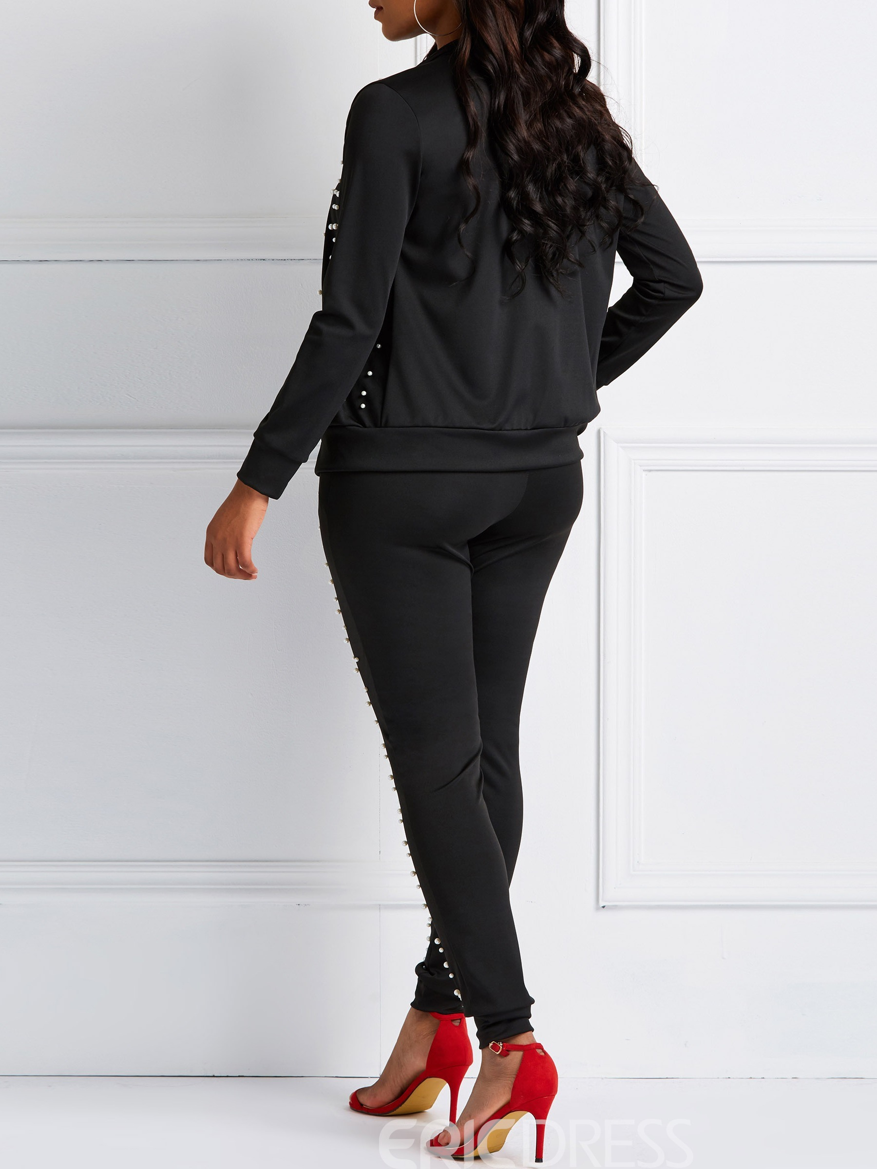 Ericdress Bead Pockets Skinny Zipper Jacket and Pants Two Piece Sets