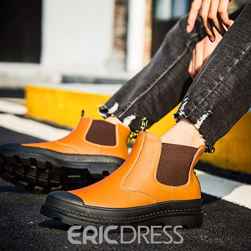 Ericdress PU Patchwork Round Toe Men's Boots