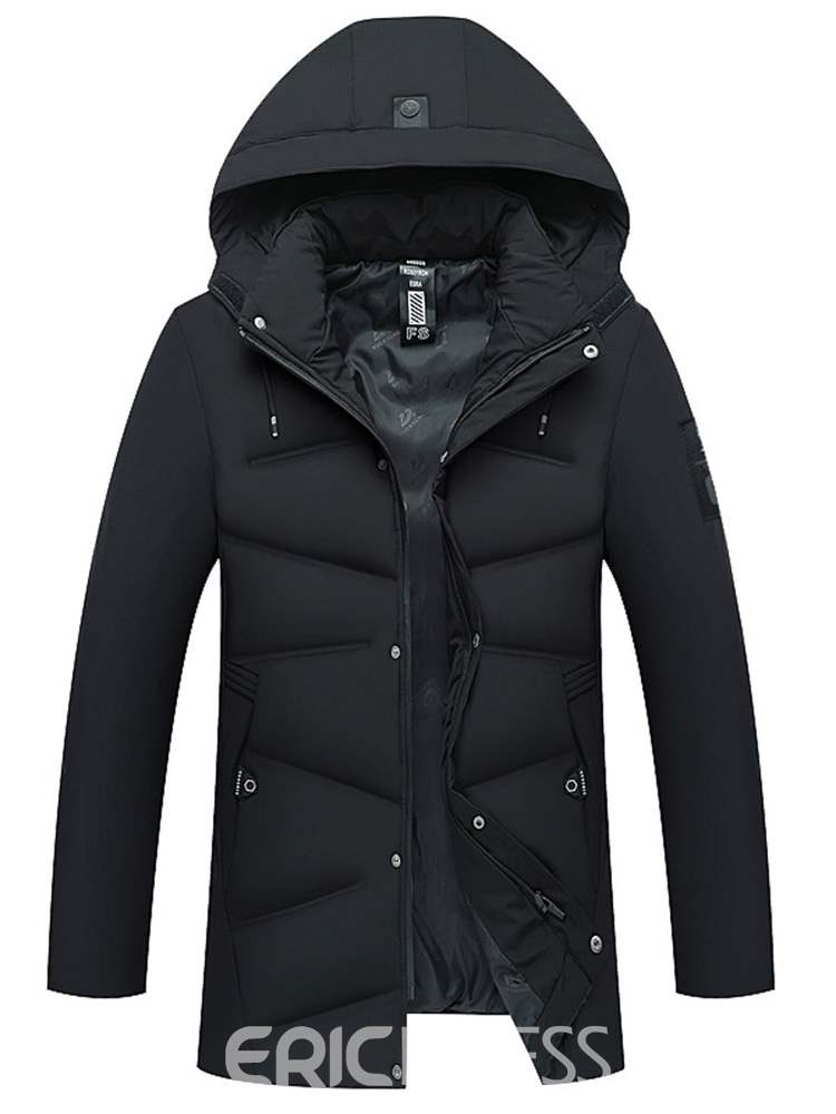 Ericdress Straight Thick Plain Zipper Mens Casual Down Jacket