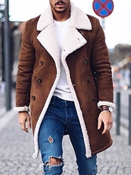 Ericdress Mid-Length Straight Mens Coat фото