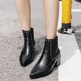 Ericdress Rivet Chunky Heel Slip-On Pointed Toe Women's Boots