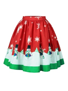 Ericdress Christmas High-Waist Print Cartoon Women's Skirt