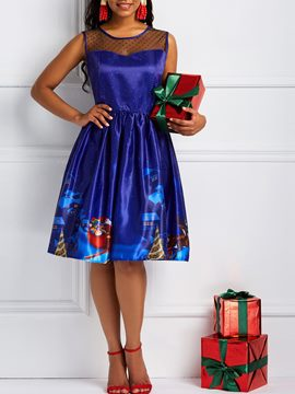 Ericdress Christmas Print Round Neck Expansion Dress